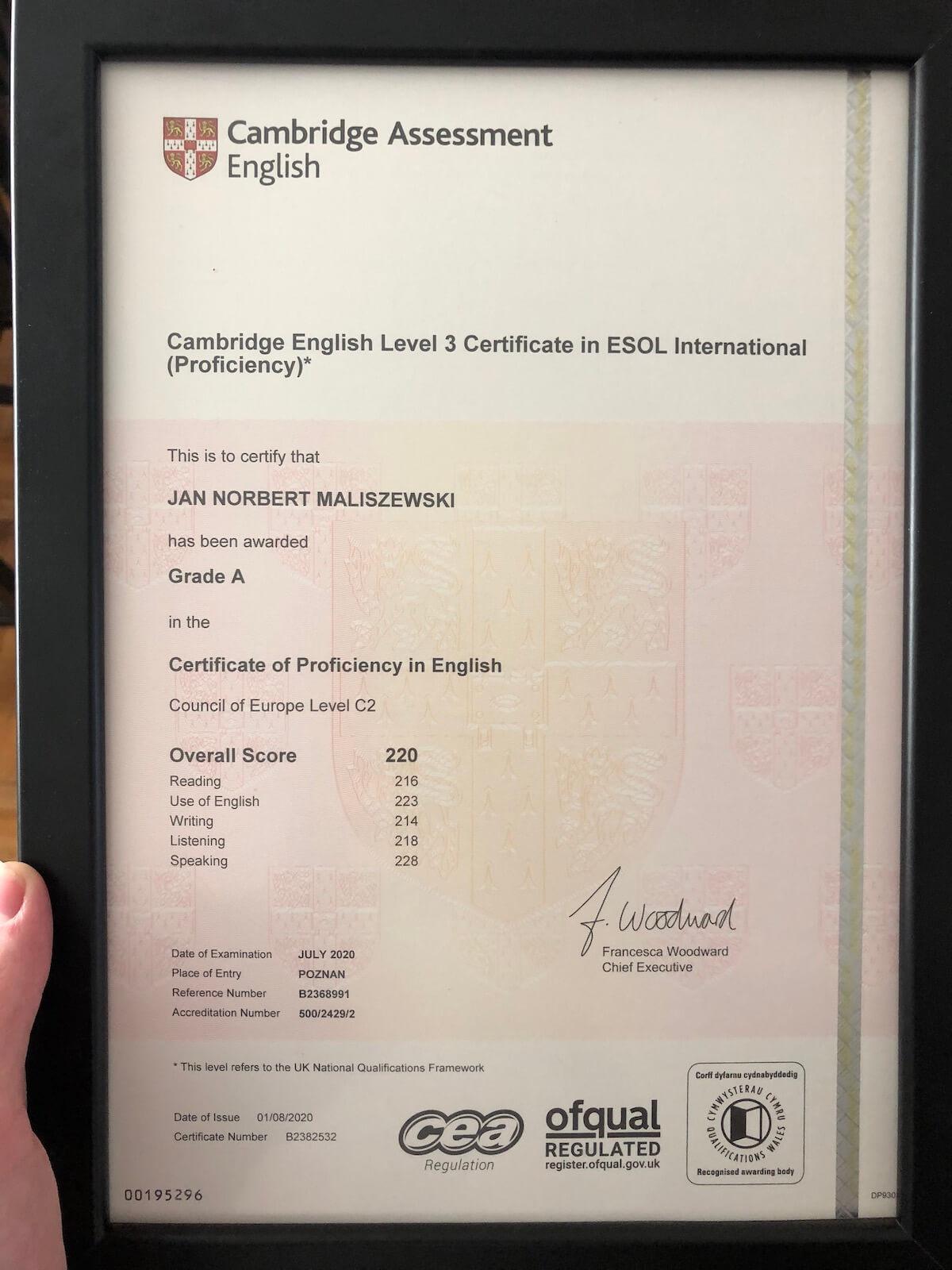 Certyfikat Jan Maliszewski Akademia Języka Angielskiego
